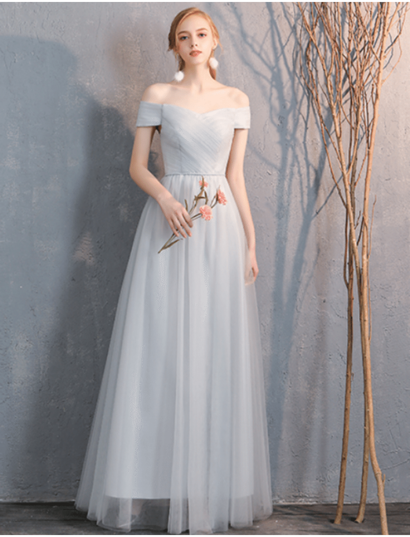 Elegant Light Grey Off Shoulder Soft Tulle Long Bridesmaid Dress Ey05359 Eleventh Gown Studio