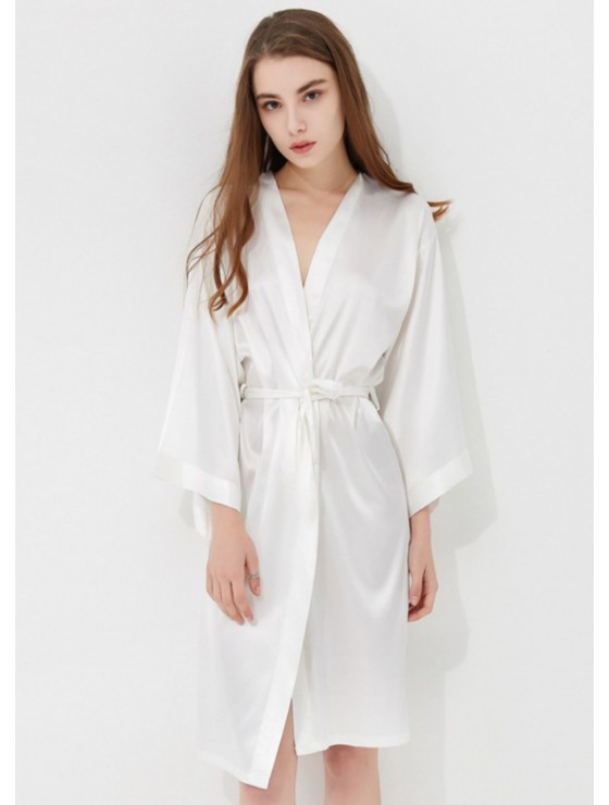 Iris Luxe Silk Robe (White)