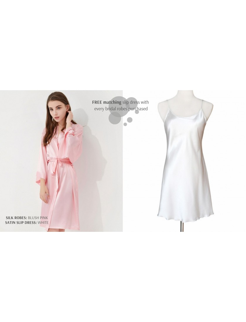 Iris Luxe Silk Robe (Blush Pink)