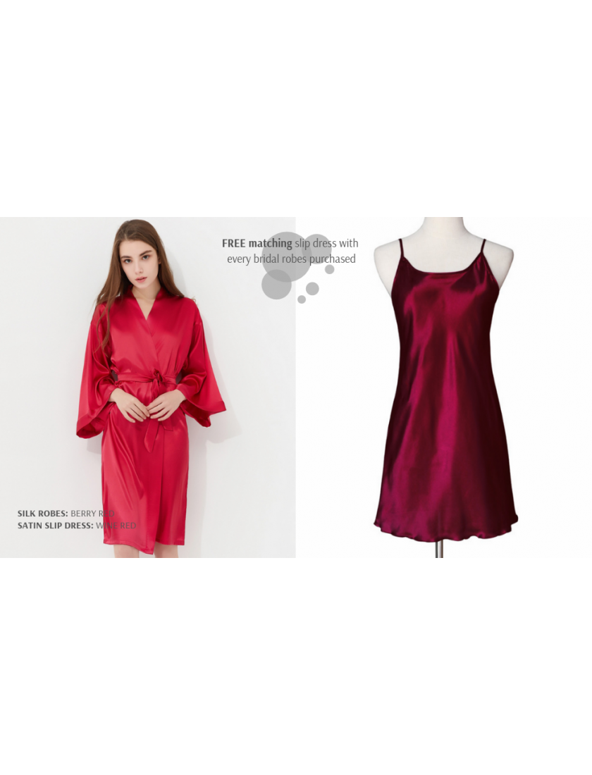 Iris Luxe Silk Robes (Berry Red)