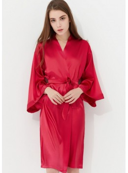 Iris Luxe Silk Robe (Berry Red)