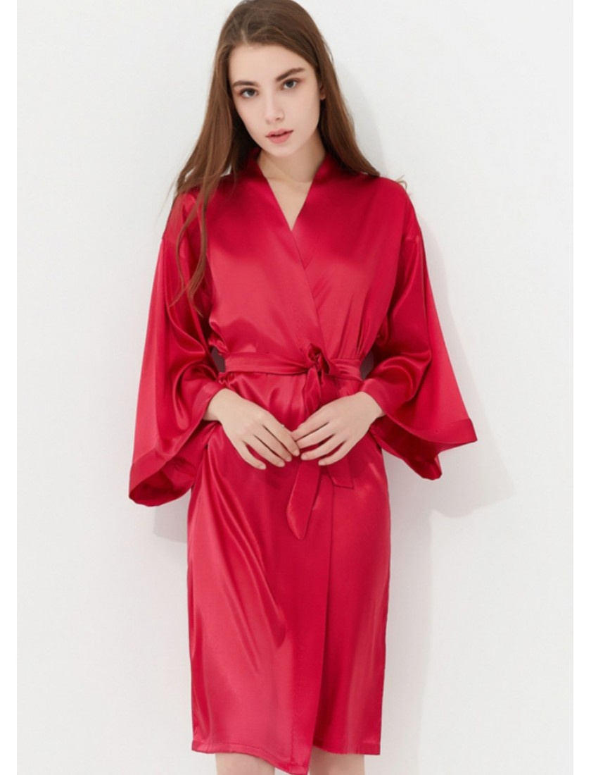 Gorgeous Luxe Silk Satin Bridesmaids Bridal Robe In Berry Red Br09004 Eleventh Gown Studio