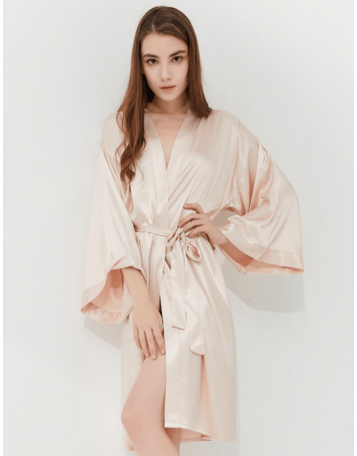 Iris Luxe Silk Robes (Champagne)