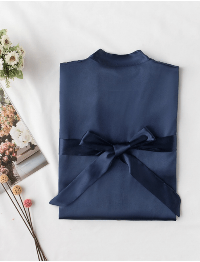 Iris Luxe Silk Robes (Midnight Blue)