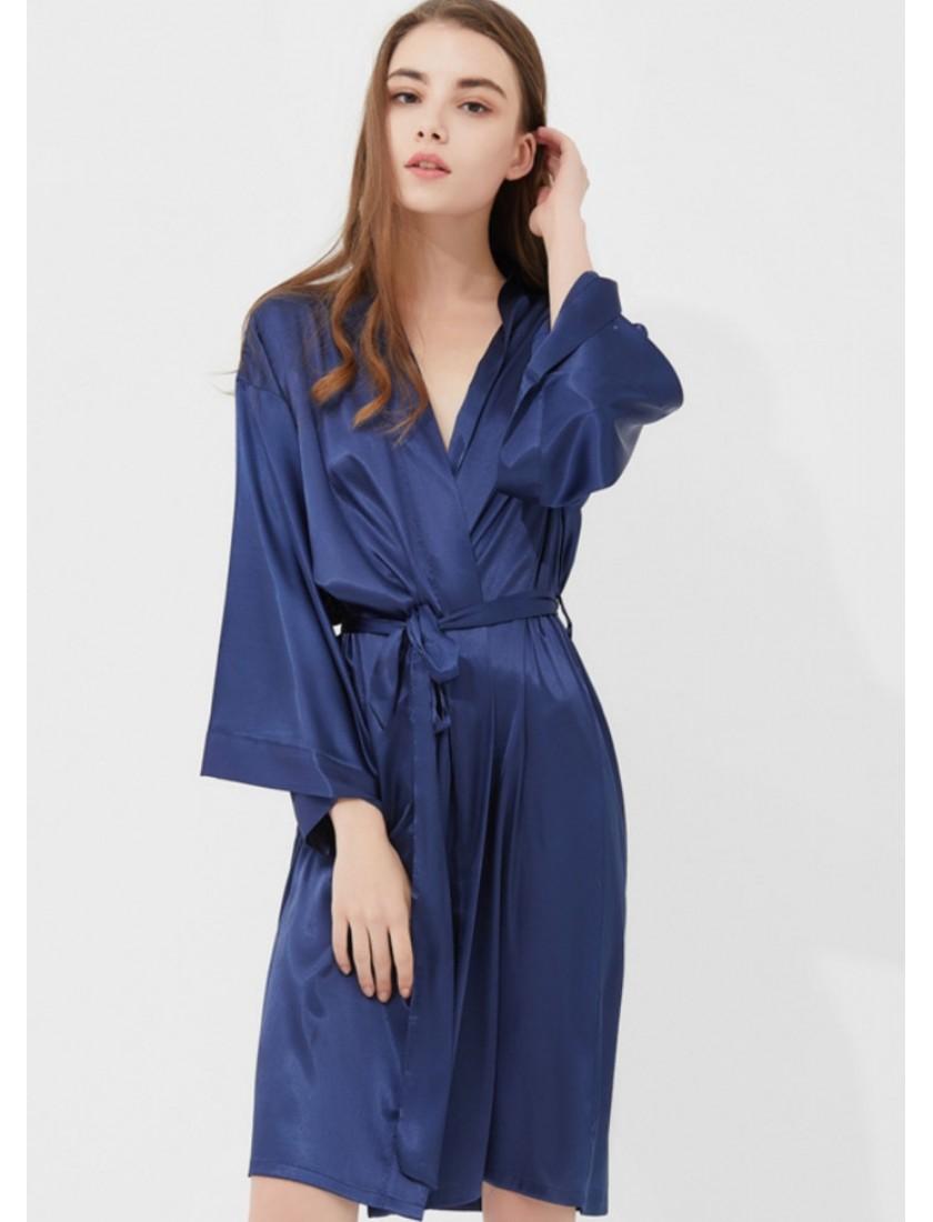 Iris Luxe Silk Robe (Midnight Blue)