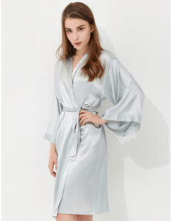 Iris Luxe Silk Robes (Silver Grey)