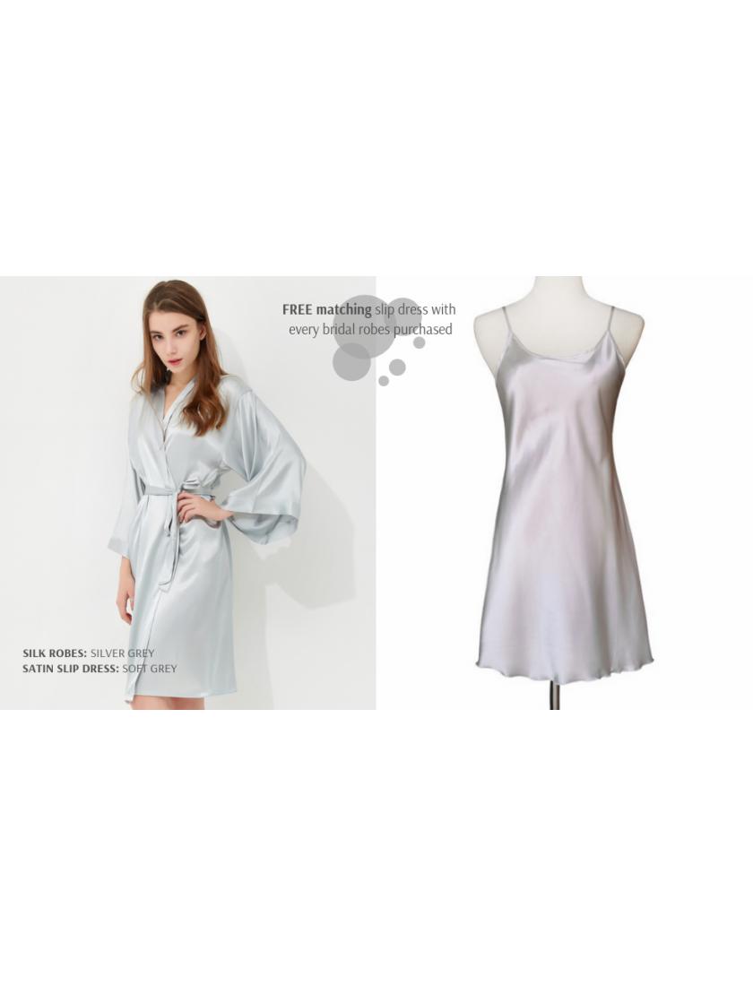 Iris Luxe Silk Robe (Silver Grey)