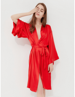 Iris Luxe Silk Robes (Red)
