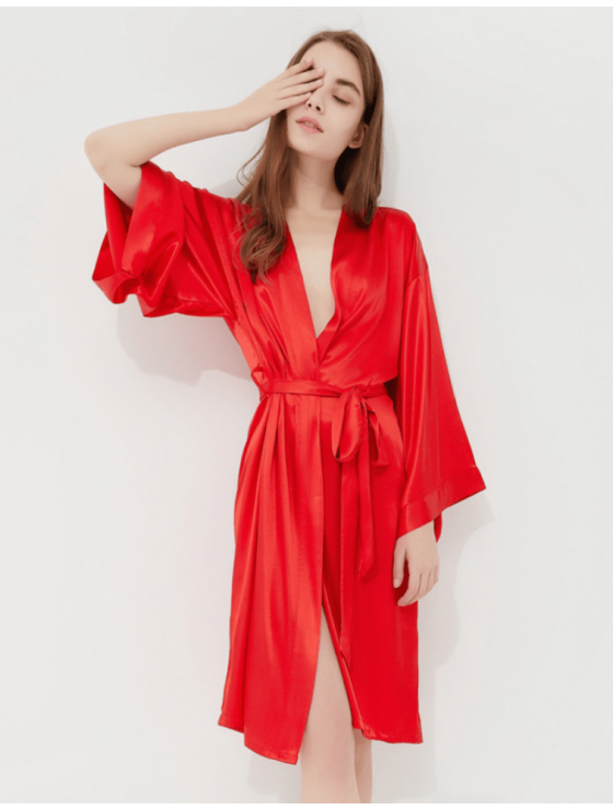 Iris Luxe Silk Robe (Red)