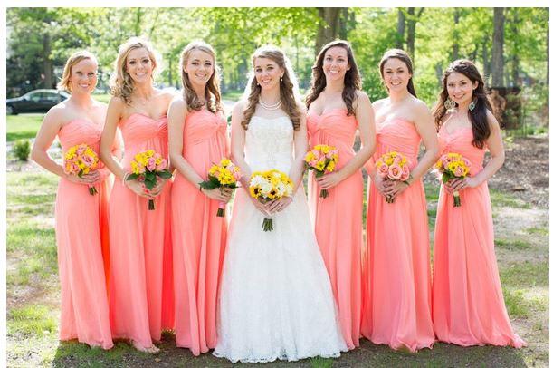 C Peach Long Bridesmaid Dresses 2017