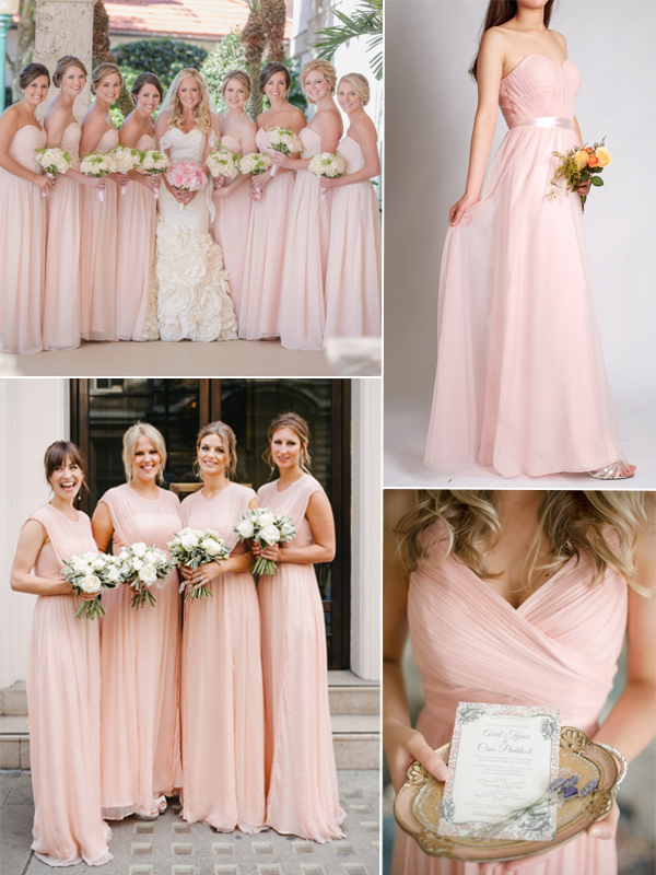 6706aac461254 The palest of pinks makes a flattering and feminine bridesmaid dress color,  ...